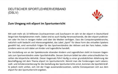 Positionspapier: Umgang mit eSport im Sportunterricht
