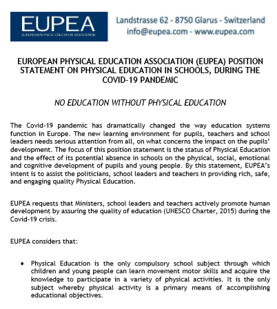 Positionspapier von der EUPEA: NO EDUCATION WITHOUT PHYSICAL EDUCATION