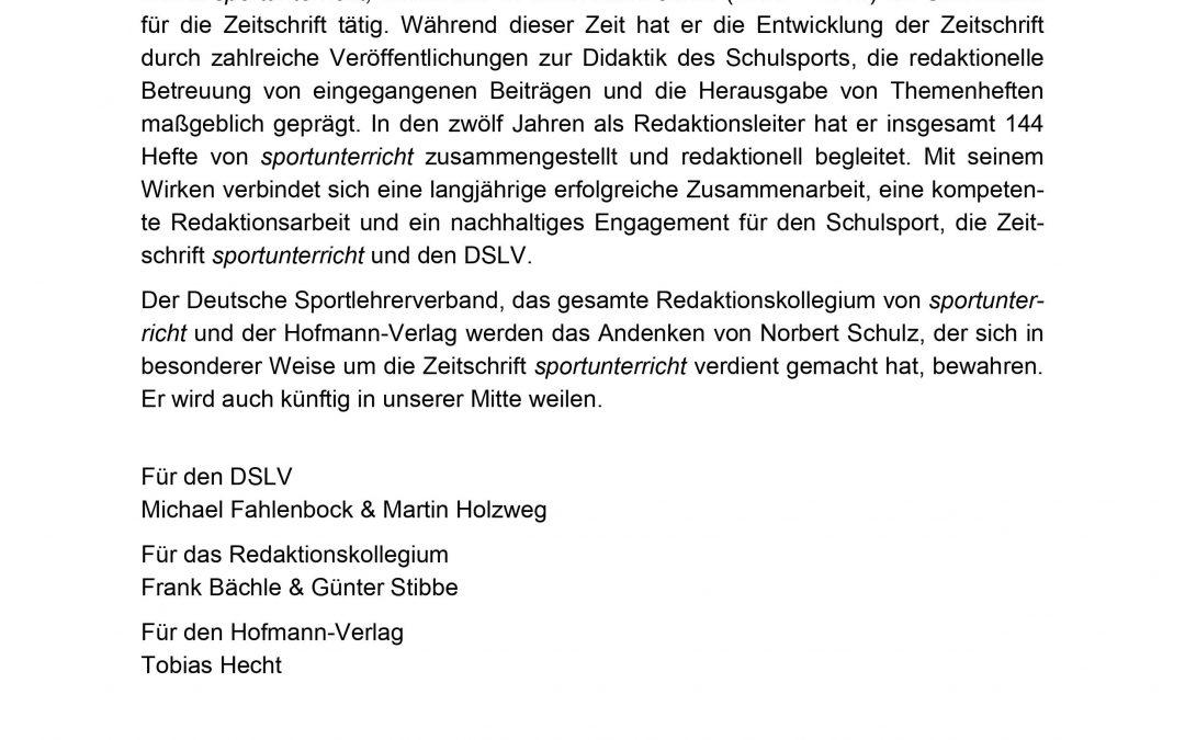 Nachruf: Der DSLV, das Redaktionskollegium von sportunterricht und der Hofmann-Verlag trauern um Dr. Norbert Schulz