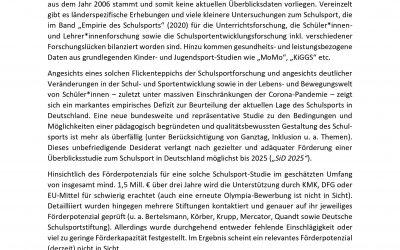 Wir brauchen eine neue Studie zur Lage des Schulsports in Deutschland!